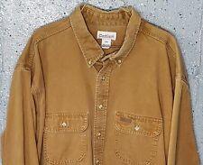 Carhartt Mens Tan Thick Heavy Denim 100%Cotton Long Sleeve Button Down Shirt 3XL