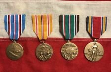 Set of 4 full size Medals issued by the U.S. for service during WWII - WW2