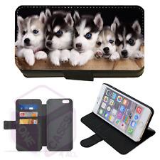 CUTE HUSKY PUPPIES Wallet Flip Phone Case iPhone Galaxy 4 5 6 7 8 9 10 Plus X(M