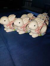 6 White Ceramic Rabbit Bunny Napkin Holders
