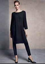 New! Eileen Fisher Black Silk Georgette Crepe Bateau Neck K/L Dress Sz M $318