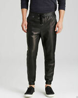 New men`s leather Sweat pants Designer Joggers Running Sports trousers