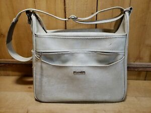 Vintage Samsonite Silhouette Luggage Cream Marbled Travel Shoulder Bag Carry On