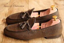 Tom Ford Brown Lizard Skin Leather Tassel Loafers Shoes Men's Uk 8.5 Us 9.5
