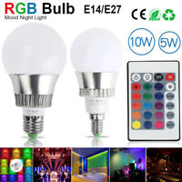 3W 5W 10W RGB LED Bulb Light E27 E14 16 Colours Changing Lamp +IR Remote Control