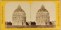 Italia Pisa il Battistero c1860 Foto Charles Gaudin Stereo Vintage Albumina