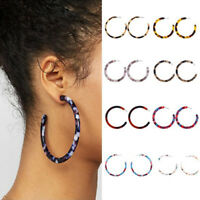 Women Acrylic Circle Hoop Earrings Geometric Leopard Print Jewelry Drop Earring-