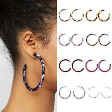 Women Acrylic Circle Hoop Earrings Geometric Leopard Print Jewelry Drop Earring-