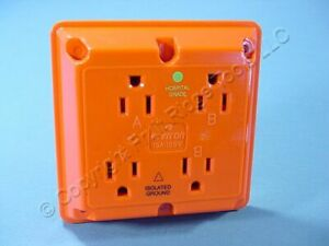 Leviton Orange 4-in-1 Receptacle HOSPITAL ISO GROUND Adapter Bulk 15A 1254-IG