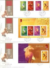 """Hong Kong China 2002 Year of the Horse Stamps + 2 S/S with """"Special"""" cds FDC"""