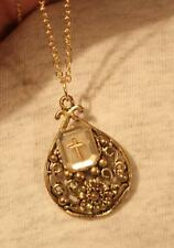 Lovely Swirled Goldtone Clear Rectangular Cross Inset Teardrop Pendant Necklace