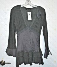 Zone Bleue Boho Gray Stretch Snap Front  Sweater Tunic w/ Lace Trim Size S nwt