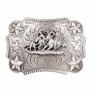 Nocona Youth Team Roper Silver Stars Rectangular Belt Buckle 3603011