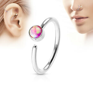 Nose Hoop Ring 316L Surgical Steel with opal gem