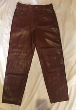 ESCADA by MARGARETHA LEY Women's Brown leather Pants Size 40 Made In Germany