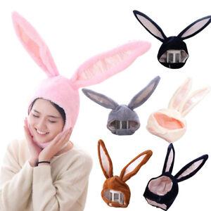 Girls Plush Rabbit Bunny Ears Hat Head Warmer Earflap Caps Photo Prop