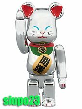 Medicom 100% Bearbrick ~ Sky Tree Lucky Cat Be@rbrick Sliver Neko Ver 2