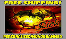 Personalized Monogrammed Custom License Plate Auto Car Tag Dragon Red