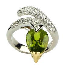 Peridot and Diamond 14k Gold Snake Ring