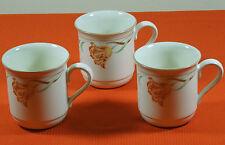 3 LENOX TULIPS ON BEIGE COFFEE MUGS CUPS CHINASTONE MADE IN USA