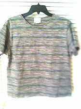 Brand New Fashion Bug Striped Short Sleeve Crew Neck Knit T-Shirt Top,Sz Medium