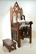Throne Chair Gothic for dolls BJD 1:3 scale H=21 inch wooden Furniture HQ Rare