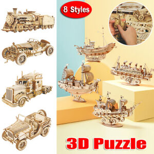 3D Puzzles Wooden Model Kits 3d Jigsaw Puzzles Building Assembly Diy Toy Kits