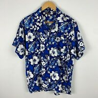 Bula Mens Hawaiian Shirt Medium Blue Floral Short Sleeve Collared Button Up