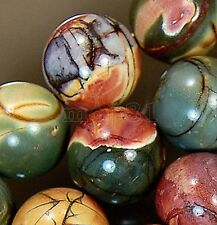 """10mm Natural Multicolor Picasso Jasper Gemstone Round Loose Beads 15"""" Strand"""