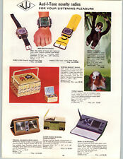 1969 PAPER AD JJJ Aud-I-Tone Mod Wrist Watch Radio 7 Transistor Plush Monkey Dog