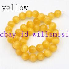 Natural 10mm Yellow Cat's Eye Round Gemstone Loose Beads 15'' AAA++
