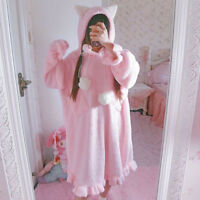 Kawaii Japanese Sweet Lolita Cat Ears Loose Warm Nightdress Sleepshirts Dress