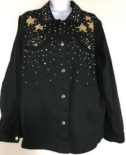 Quacker Factory Short Light Denim Jacket With Stud Decor Black Size M