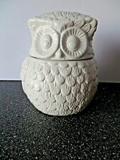"""Robert Gordon White Ceramic Owl Jar Canister 6 1/4"""" Tall"""