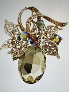 Sophia Gold/Brown Rhinestone AB Glass Accented Gold Tone Brooch