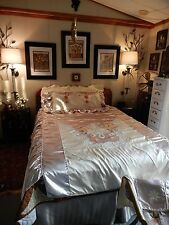 Vtg Art Deco Champagne Liquid Satin So Belle Chenille Embroidery Bedspread Set