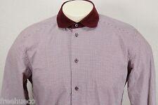 DOLCE & GABBANA Red Black Micro Check Plaid Cord Collar Shirt -Men's 15 3/4 (40)