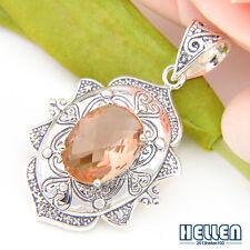 "Wedding Jewlery Hot Sell Oval Morganite Gems Vintage Silver Pendant 1 7/8"""