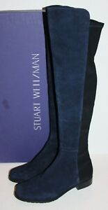 $655 Stuart Weitzman Blue Suede Leather 5050 Boots OTK Over The Knee 9.5 / 39.5
