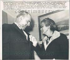 1958 Marie Byrd Widow of US Admiral Richard Byrd w Dr Paul Siple Press Photo