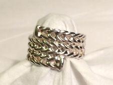 Sterling Silver 925 Nf Herring Bone Chevron Ring - Sz 7.75