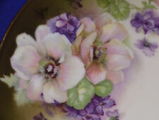 VINTAGE BAVARIA DECORATIVE PLATE W/ WHITE & PURPLE BLOSSOMS GERMANY ca. 1900