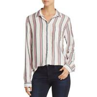 Beach Lunch Lounge Womens Alanna White Striped Button-Down Top Shirt S BHFO 4902