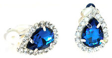 "Elegant ""CLIP-ON"" Earrings,Tear Drop Center and Clear Crystal-E-303"