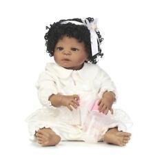 "African American Baby Doll Black Girl Full Vinyl Silicone Body Reborn Baby 22"""