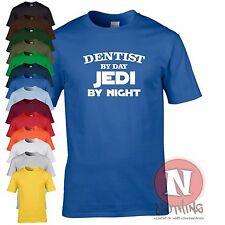Dentist by day, Jedi by night fun retirement leaving birthday Star Wars t-shirt