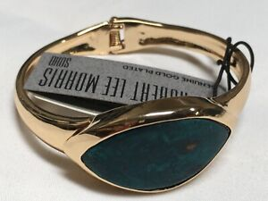 "Robert Lee Morris Blue Evil Eye Paint Cuff Gold Plated Bracelet 7"" NEW RM17"