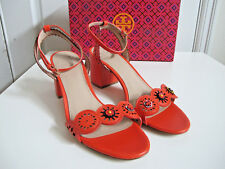 NIB $265 Tory Burch Marguerite Sandals Flower Cut out Shoes Samba Orange sz 8.5