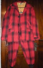 Vintage Sears and Roebuck Red Black Plaid Mens Hunting Wool Coat & matching pant