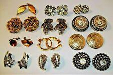 Vintage EARRINGS Lot Clip On SIGNED Monet Tortolani Coventry RHINESTONE 12pr